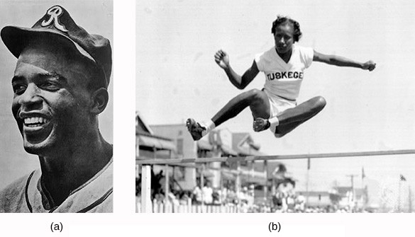 """Photograph (a) shows Jackie Robinson posing in his baseball uniform. Photograph (b) shows Alice Coachman completing a high jump, wearing a shirt that reads """"Tuskegee."""""""