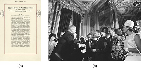 Image (a) is a copy of the Voting Rights Act. Photograph (b) shows President Johnson and Martin Luther King, Jr. who stand with a large group of people, greeting one another in an opulent room.