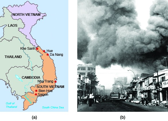 Map (a) shows Southeast Asia, with labels for North Vietnam, Laos, Thailand, Cambodia, and South Vietnam, as well as Khe Sanh, Hue, Da Nang, Nha Trang, Bien Hoa, and Saigon. Photograph (b) shows a Saigon street with massive plumes of black smoke rising above it.
