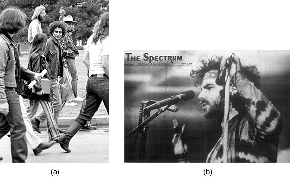 Photograph (a) shows Abbie Hoffman and several others protesting at the University of Oklahoma. Photograph (b) shows Jerry Rubin speaking into a microphone.