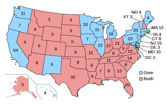 A map shows the results of the 2000 presidential election and the number of electoral votes cast for each candidate. The states that voted for Bush include Alaska (3), Nevada (4), Arizona (8), Utah (5), Idaho (4), Montana (3), Wyoming (3), Colorado (8), North Dakota (3), South Dakota (3), Nebraska (5), Kansas (6), Oklahoma (8), Texas (32), Missouri (11), Arkansas (6), Louisiana (9), Indiana (12), Kentucky (8), Tennessee (11), Mississippi (7), Alabama (9), Georgia (13), Florida (25), South Carolina (8), North Carolina (14), Virginia (13), West Virginia (5), Ohio (21), and New Hampshire (4). The states that voted for Gore include California (54), Oregon (7), Washington (11), New Mexico (5), Minnesota (10), Iowa (7), Wisconsin (11), Illinois (22), Michigan (18), Hawaii (4), Pennsylvania (23), Maryland (10), Delaware (3), New Jersey (15), New York (33), Vermont (3), Maine (4), Massachusetts (12), Rhode Island (4), Connecticut (8), and Washington, D.C. (2).