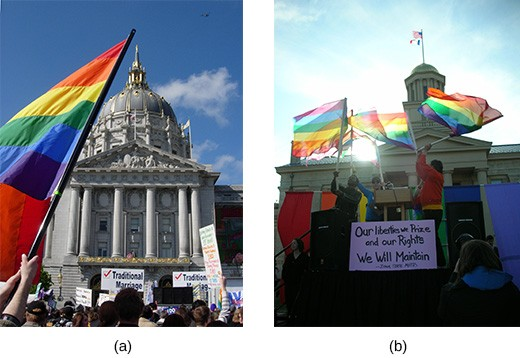 "Photograph (a) shows supporters and protestors of same-sex marriage gathered outside of San Francisco's City Hall. Photograph (b) shows supporters flying rainbow flags outside of the Iowa Supreme Court; in the center of the image, they hold a sign that reads, ""Our liberties we prize and our rights we will maintain."""