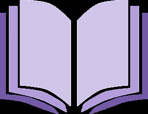 Clip art of open book in purple
