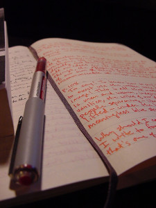 Photo of an open journal with a full page of handwriting. An uncapped red pen lays across it, and the spine of a book is visible off to the right