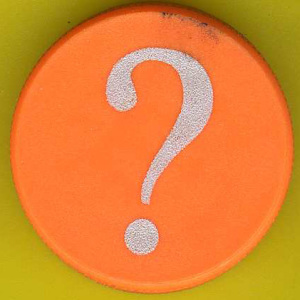 Image of a round orange button with a white question mark, against a yellow background