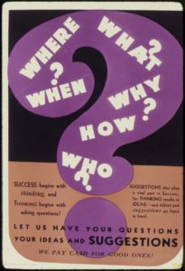 Image of an advertisement from a magazine, with a large purple question mark containing the questions Where, When, What, Why, How, and Who