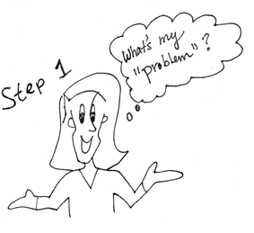 "Cartoon drawing of a woman thinking ""What's my 'problem'""?, with a title of Step 1."