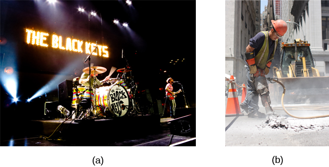 "Photograph A shows a rock band performing on stage and a sign reading ""The Black Keys."" Photograph B shows a construction worker operating a jackhammer."