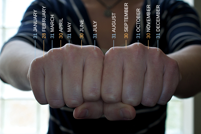 A photograph shows a person's two hands clenched into fists so the knuckles show. The knuckles are labeled with the months and the number of days in each month, with the knuckle protrusions corresponding to the months with 31 days, and the indentations between knuckles corresponding to February and the months with 30 days.