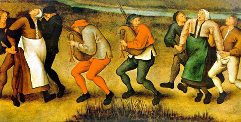 A painting shows a group of pilgrims dancing in a way that appears inconsistent and aimless.