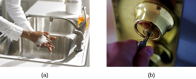 Photo A shows a person washing his or her hands. Photo B shows a person placing a key into the keyhole on a door.