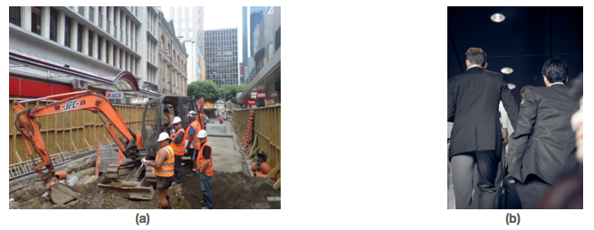 Figure (a) shows a group of construction workers. Figure (b) shows a group of businessmen.