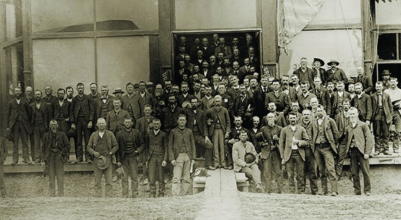 A photograph shows members of the People's Party gathered outside of their nominating convention in Nebraska.