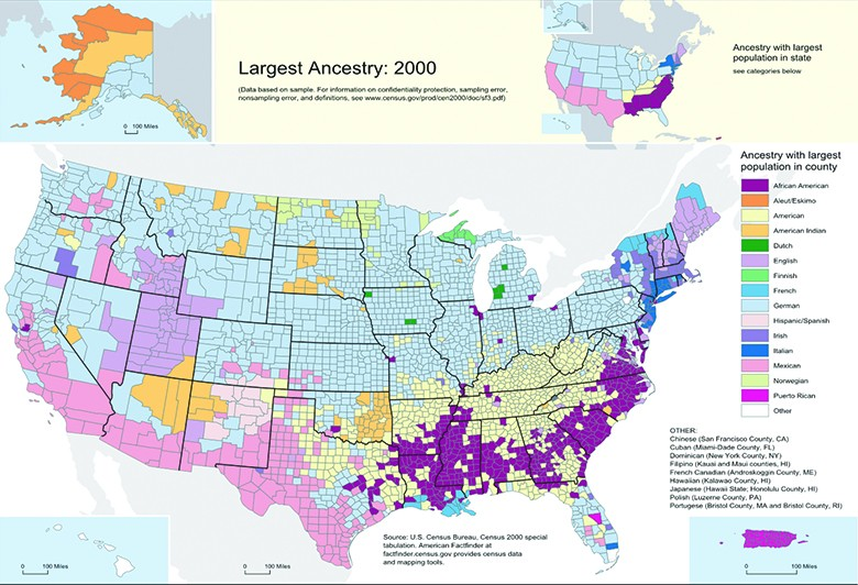 A map indicates the dominant ethnicities in different parts of the country.