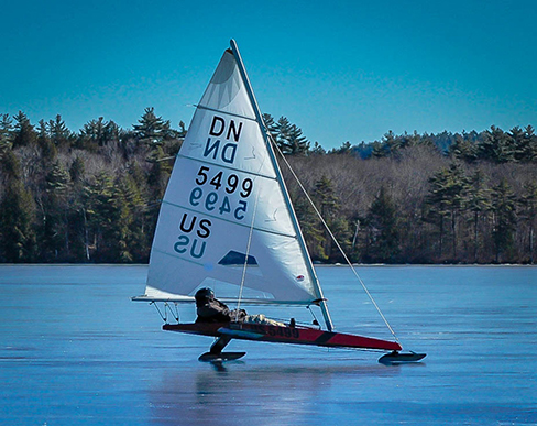 An image of an iceboat in action.