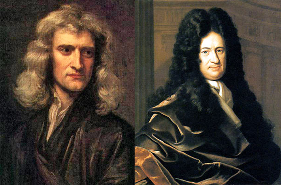 Photos of Newton and Leibniz.