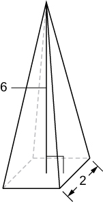 This figure is a pyramid with base width of 2 and height of 6 units.