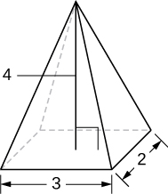 This figure is a pyramid with base width of 2, length of 3, and height of 4 units.