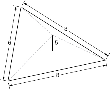 This figure is a pyramid with a triangular base. The view is of the base. The sides of the triangle measure 6 units, 8 units, and 8 units. The height of the pyramid is 5 units.