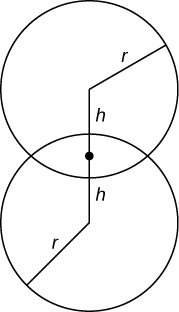 """This figure has two circles that intersect. Both circles have radius """"r"""". There is a line segment from one center to the other. In the middle of the intersection of the circles is point """"h"""". It is on the line segment."""
