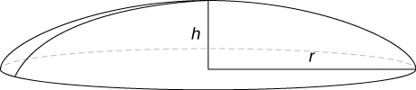 """This figure a portion of a sphere. This spherical cap has radius """"r"""" and height """"h""""."""