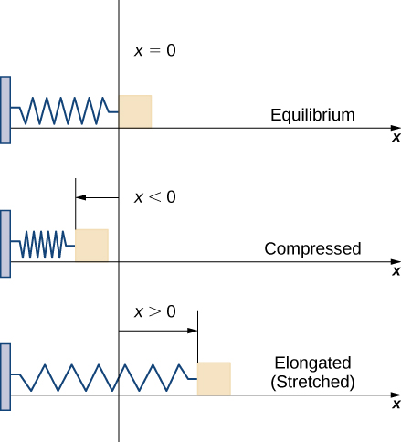 This figure has three images. The first is the x-axis. On the left is a vertical block. Attached to the block is a spring that ends at the y-axis and has the label x=0. The image is labeled equilibrium. The second image is the same spring that ends before the y-axis. It has x<0 and is labeled compressed. The third image is the same spring that is beyond the y-axis. It has x>0 and is labeled stretched.