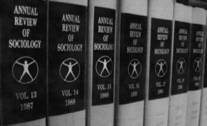 "Bindings of the Annual Review of Sociology in the Human and Social Sciences Library Paris Descartes-CNRS, from 1987 to 1993, illustrate the historical aspects of Sociology. [""Binding Annual Review of Sociology.JPG"" by Cécile Duteille, Wikimedia Commons is licensed under CC BY-SA 3.0]"