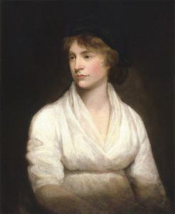 """Mary Wollstonecraft (1759–1797) wrote about women's conditions in society. [""""Mary Wollstonecraft by John Opie (c. 1797).jpg"""" by National Portrait Gallery, Wikimedia Commons is licensed under CC BY 2.0"""