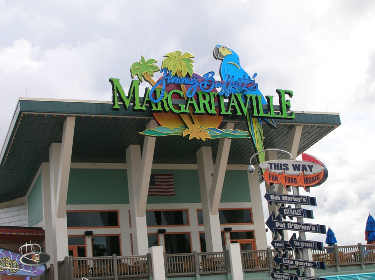 Image of Margaritaville restaurant and bar, owned by Jimmy Buffet, which has a large following of fans.
