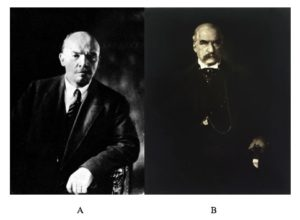 Vladymir Lenin on the left, and JP Morgan on the right