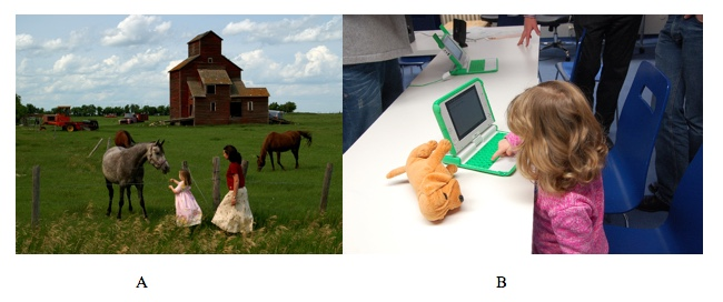 A farm on the left and a child using a computer on the right