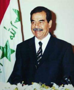 Former Iraqi dictator Saddam Hussein is shown.