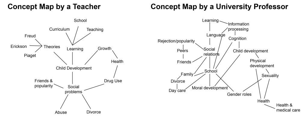 Two concepts maps; one by a teacher and one by a university professor.