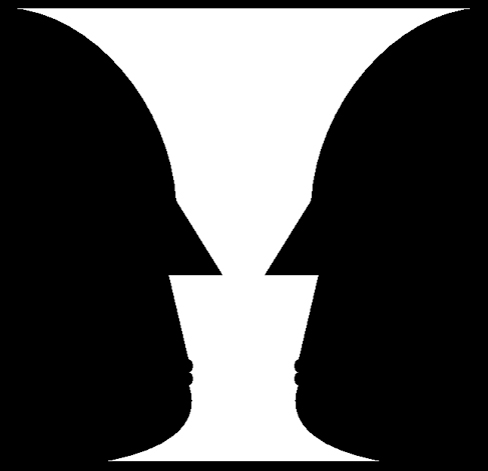 An illustration shows two identical black face-like shapes that face towards one another, and one white vase-like shape that occupies all of the space in between them. Depending on which part of the illustration is focused on, either the black shapes or the white shape may appear to be the object of the illustration, leaving the other(s) perceived as negative space.