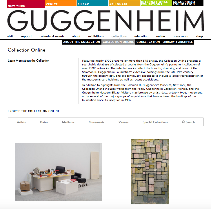 Screenshot from the Guggenheim's Collection Online