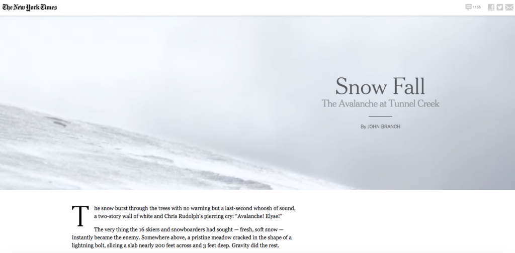 "Screenshot from the beginning of ""Snow Fall,"" a New York Times article by John Branch."