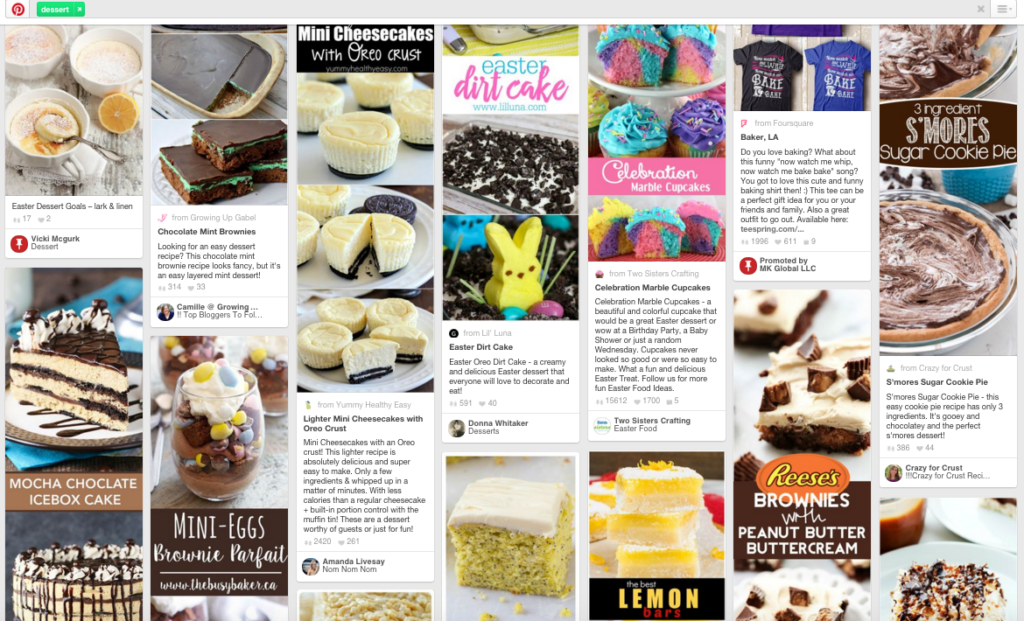 "Screenshot of Pinterest when the term ""dessert"" is entered into the search bar."