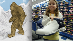 Two images: on the left, a drawing of Bigfoot. On the right, a photo of a girl holding a big show