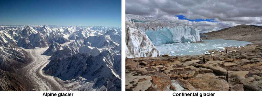 A two part image. Part one: Aerial View of the Baltoro Glacier towards Concordia with Gasherbrum IV and Gasherbrum I on the left, Baltoro Kangri and Chogolisa on the upper right ; Mitre Peak is right in the center (where the glacier turns left while flowing down). Part two: Quelccaya Glacier located in southern Peru in the Cordillera Vilcanota.