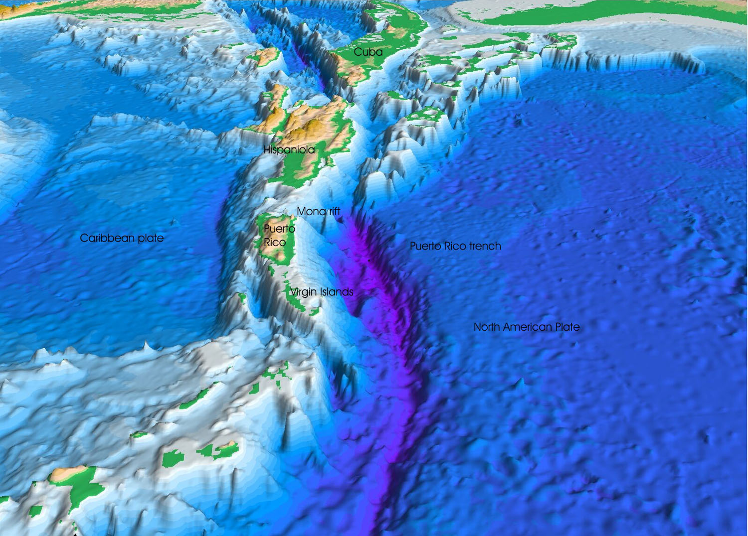 Perspective view of the sea floor of the Atlantic Ocean and the Caribbean Sea. The Lesser Antilles are on the lower left side of the view and Florida is on the upper right. The purple sea floor at the center of the view is the Puerto Rico trench, the deepest part of the Atlantic Ocean and the Caribbean Sea.