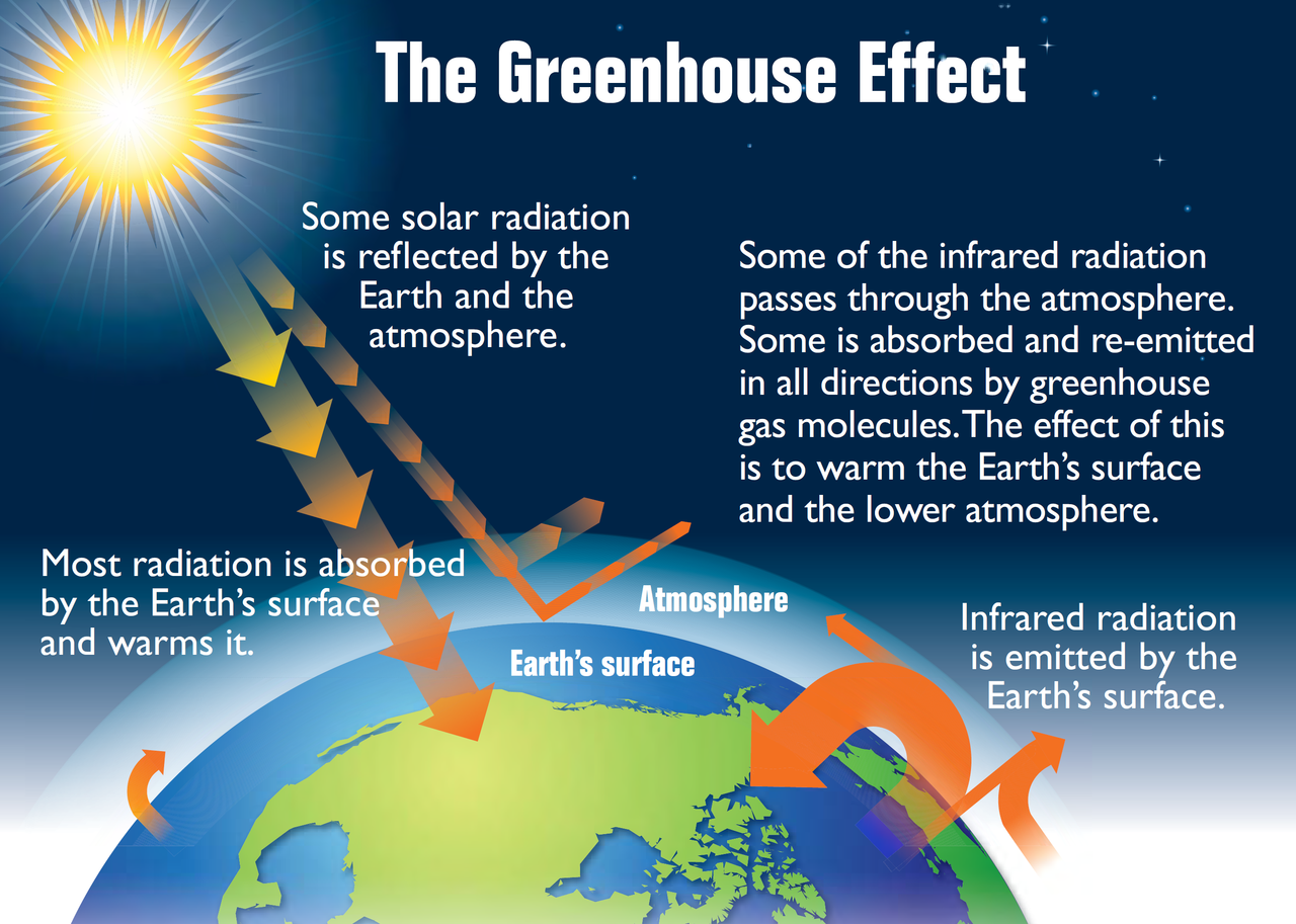 "This diagram shows the Earth's ""greenhouse effect."" The Earth absorbs some of the energy it receives from the sun and radiates the rest back toward space. However, certain gases in the atmosphere, called greenhouse gases, absorb some of the energy radiated from the Earth and trap it in the atmosphere. These gases essentially act as a blanket, making the Earth's surface warmer than it otherwise would be. While this greenhouse effect occurs naturally, making life as we know it possible, human activities in the past century have substantially increased the amount of greenhouse gases in the atmosphere, causing the atmosphere to trap more heat and leading to changes in the Earth's temperature. Summary of diagram: Energy from the sun arrives to the Earth as solar radiation. Some solar radiation is reflected by the Earth and the atmosphere. Most radiation is absorbed by the Earth's surface and warms it. Infrared (heat) radiation is emitted by the Earth's surface. Some of the infrared radiation passes through the atmosphere. Some is absorbed and re-emitted in all directions by greenhouse gas molecules. The effect of this is to warm the Earth's surface and the lower atmosphere."