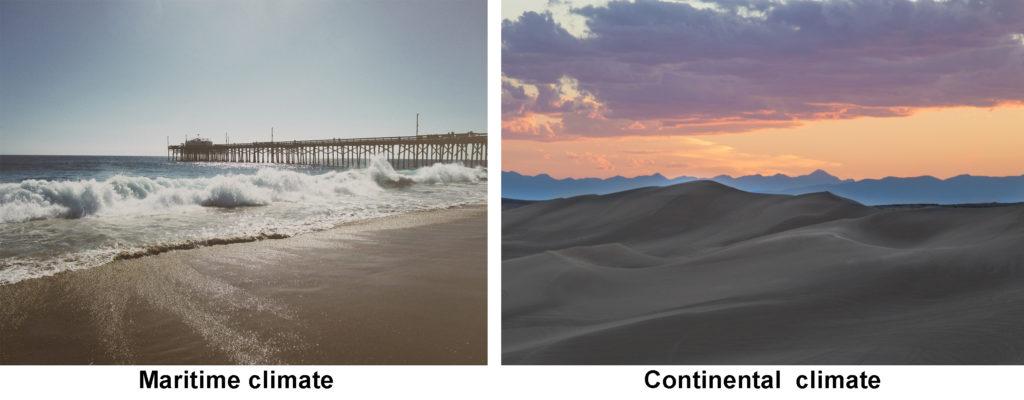 A beach town and a desert.