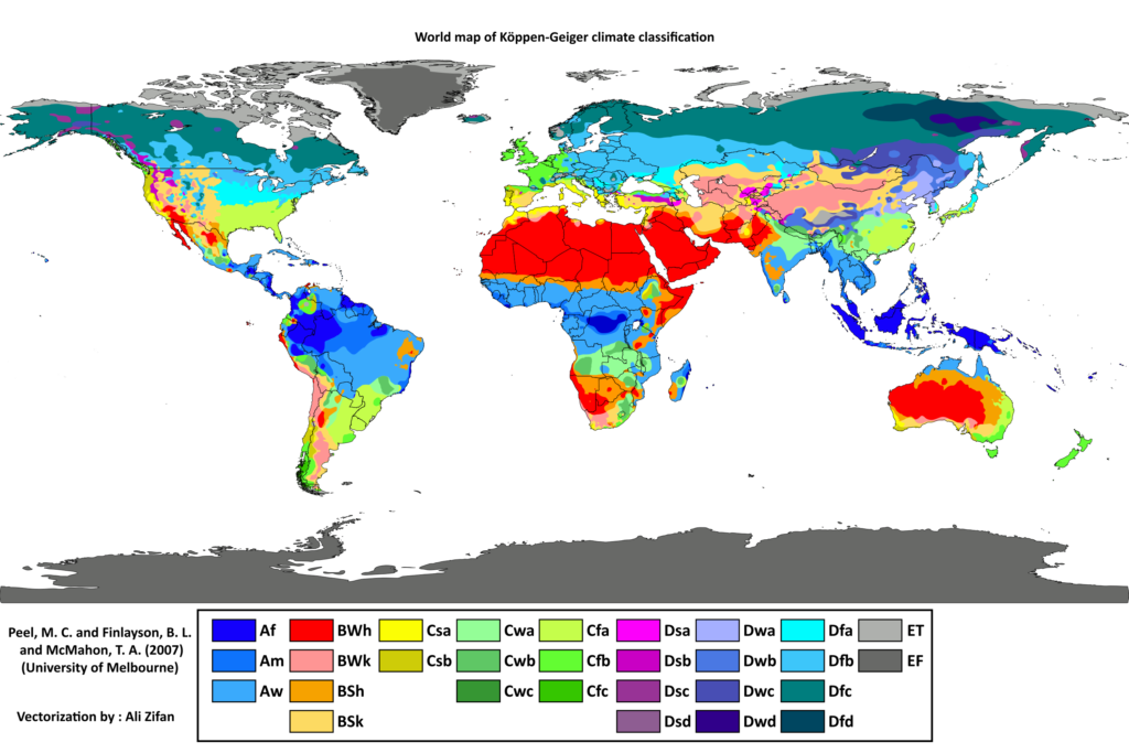 World map of Koppen-Geiger climate classification. There are five broad categories: A-Tropical, B-Arid, C-Temperate, D-Cold, E-Polar. Each of these is broken down into smaller subcategories: Af, Am, Aw. BWh, BWk, BSh, BSk. Csa, Csb, Cwa, Cwb, Cwc, Cfa, Cfb, Cfc. Dsa,Dsb, Dsc, Dsd, Dwa, Dwb, Dwc, Dwd, Dfa, Dfb, Dfc, Dfd. ET, EF. The climates are largely striated: Tropical and Arid climates exist near the equator. Temperate and cold climates exist between the equator and the poles. Polar climates exist at the poles. There are a few notable exceptions, such as the arid climates in Australia and South Africa.