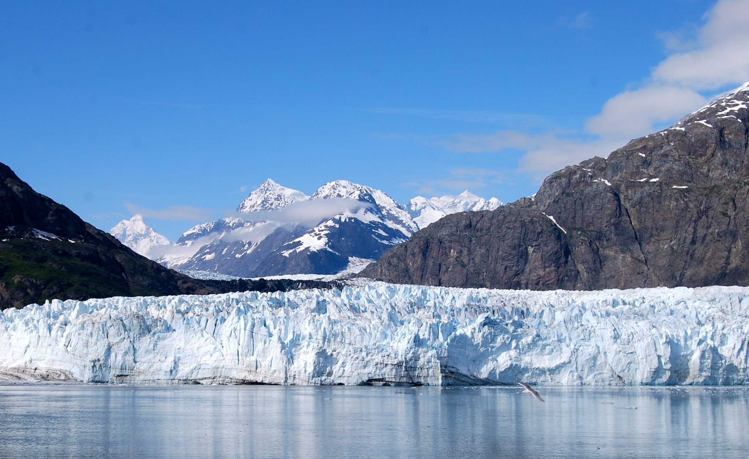 A glacier floating on a lake. The glacier is a wall of ice.