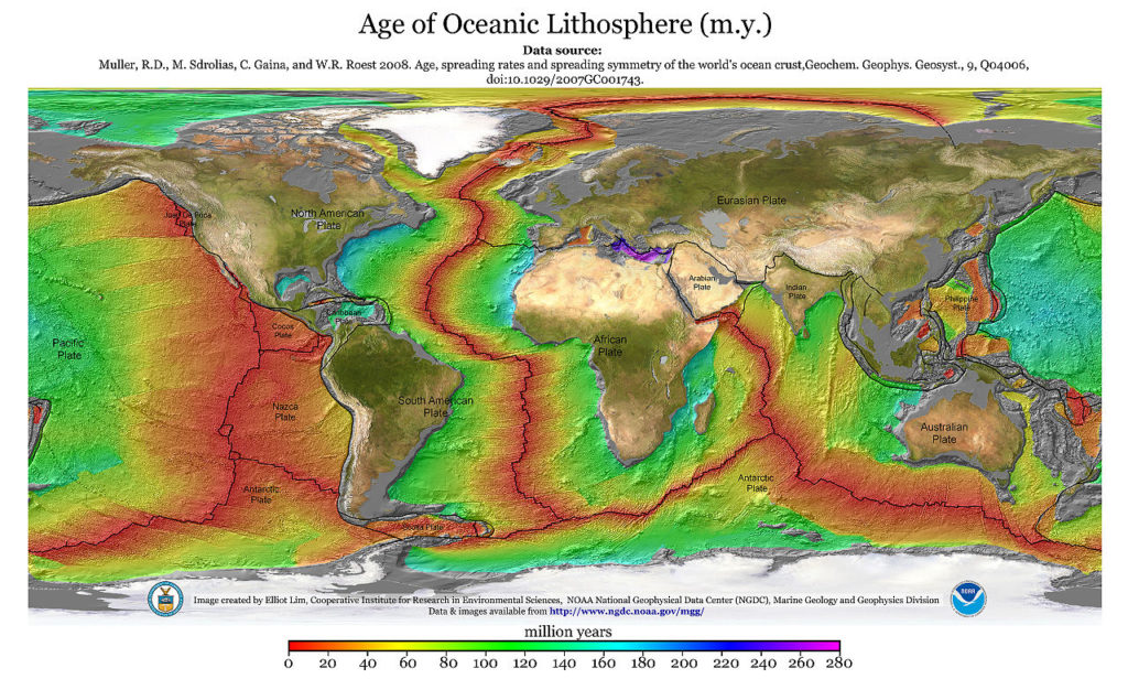 Colors indicate age of oceanic lithosphere, lines represent tectonic plates, world map. The lithosphere is youngest near the tectonic plate boundaries.