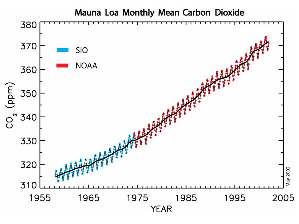 Carbon dioxide has been steadily rising since 1995, with yearly cycling.