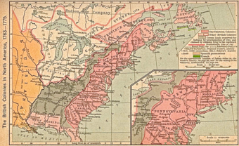 The map shows British holdings in North America, including the thirteen original colonies of the United States and a portion of present-day Canada controlled by the Hudson Bay Company.