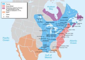 The map shows that the entirety of present-day New Brunswick, Prince Edward Island, Ohio, Michigan, Indiana, Mississippi, Wisconsin, Illinois, Missouri, Arkansas, and Louisiana were controlled by France. It also shows that portions of present-day Newfoundland and Labrador, Quebec, Ontario, Manitoba, Saskatchewan, Maine, Vermont, New York, Pennsylvania, West Virginia, Kentucky, Tennessee, Alabama, Texas, Oklahoma, Kansas, Iowa, Minnesota, South Dakota, and North Dakota were controlled by France. It shows that the entirety of present-day New Hampshire, Massachusetts, Rhode Island, Connecticut, New Jersey, Maryland, and Delaware were controlled by the British. It also shows that portions of present-day Vermont, New York, Pennsylvania, West Virginia, Virginia, Kentucky, North Carolina, South Carolina, and Georgia were controlled by the British. It shows that present-day Nova Scotia and portions of Newfoundland, Quebec, Ontario, and Manitoba were ceded by France to Great Britain by the Treaty of Utrecht in 1713. Finally, it shows that portions of present-day Florida, Georgia, Alabama, Texas, Oklahoma, New Mexico, Colorado, Utah, Arizona, and Mexico were controlled by Spain.