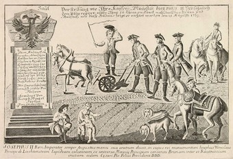 Joseph II is plowing the field near Slawikowitz in rural southern Moravia in 1769.