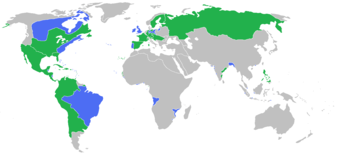 All the participants of the Seven Years' War: [blue] Great Britain, Prussia, Portugal, with allies; [green] France, Spain, Austria, Russia, Sweden with allies